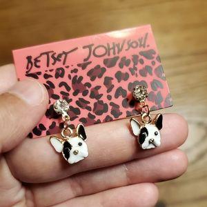 NWT Betsey Johnson French Bulldog Drop Earrings